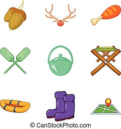 Craft icons set, cartoon style