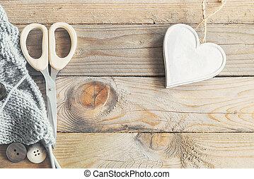 Craft items on vintage table
