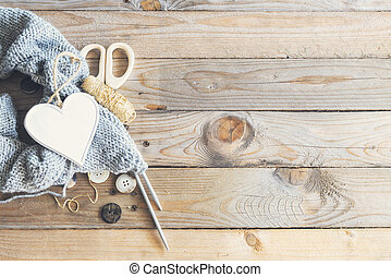 Craft items on wooden table