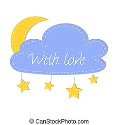 Craft logo for felt products. - Cloud, moon and stars made...