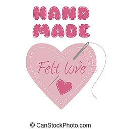 Craft logo for felt products. - Heart made with felt. Design...