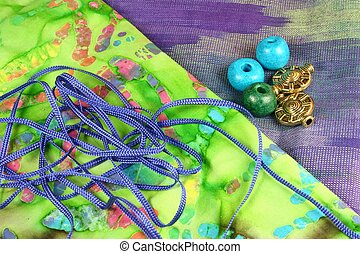 Craft Materials - Craft materials - colourful fabric, cord,...