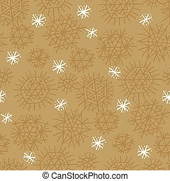 Craft natural star and snowflakes seamless pattern.