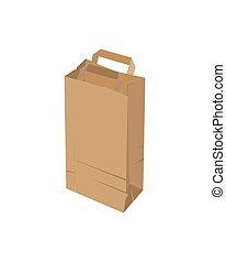 Craft paper bag on a white background. Vector illustration.