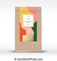 Craft Paper Bag with Citrus Chocolate Label. Abstract Vector Packaging Design Layout with Realistic Shadows. Modern Typography, Hand Drawn Tangerine Silhouette and Colorful Background.