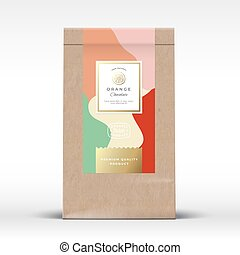 Craft Paper Bag with Citrus Chocolate Label. Abstract Vector Packaging Design Layout with Realistic Shadows. Modern Typography, Hand Drawn Orange Silhouette and Colorful Background.