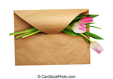 Craft paper envelope with three tulip flowers