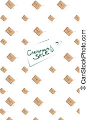 Craft paper present boxes tied from rope on white background, top view. Pattern. Inscription - Christmas SALE