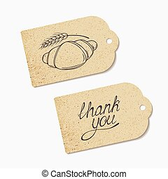 Craft paper tags with THANK YOU hand lettering and sketched croissant