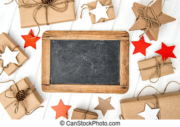 Craft paper wrapped gifts christmas decoration chalkboard
