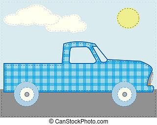 Craft patchwork blue cartoon truck road sun day