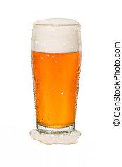 Craft Pub Beer Glass with Beer Spilt