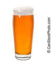 Craft Pub Glass with Beer and Foam Running Down Side of Glass #1