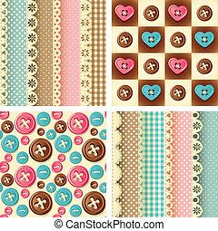 craft seamless pattern - Vector illustration - four fabric ...