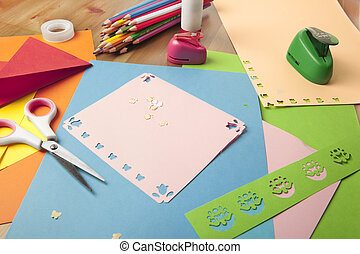 Craft table with crayons