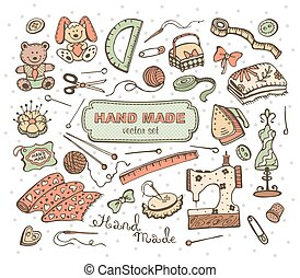 Craft tools - Hand made tools doodle set. Craft items...