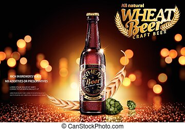 Craft wheat beer ads with ingredients on glitter bokeh brown...