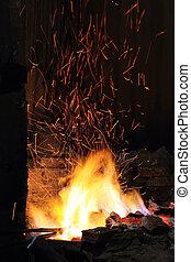 crafted, ogień, gdzie, blacksmith's, żelazo, fałszować,...