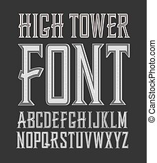 crafted, vindima, etiqueta, alto, vetorial, font., torre, à mão