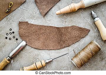 crafting, mockup, couro, topo, cinzento, fundo, pedra, ferramentas, vista