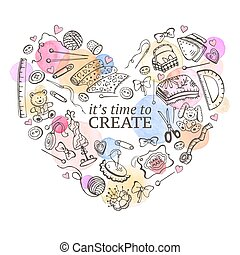 Crafting poster - Heart from hand made tools. Doodle...