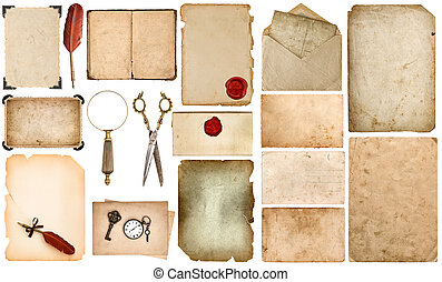 Crafting scrapbooking Set used paper Vintage book card photo frame