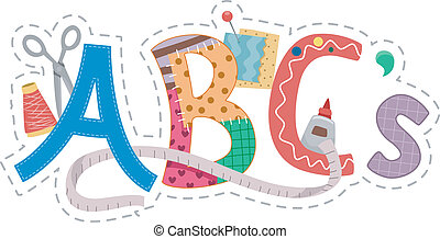 Crafts Alphabet - Text Illustration Featuring Crafts-Related...