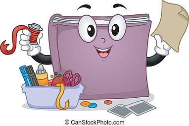Mascot Illustration Featuring an Arts and Crafts Book Standing Beside a Tub Full of Arts and Crafts Materials