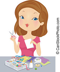 Illustration of a Girl Working on an Arts and Crafts Project