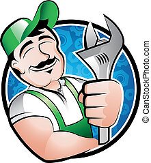 A cartoony illustration of a man holding a spanner