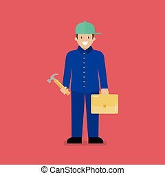 Craftsman character cartoon. Blue collar worker in flat...