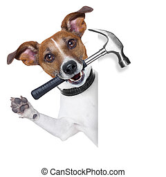 craftsman dog with hammer in mouth beside a white blank...