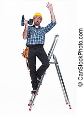 craftsman falling off a ladder