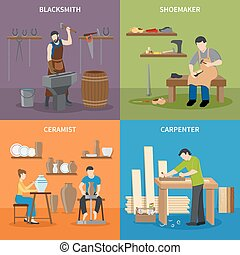 Craftsman Flat 2x2 Icons Set - Colorful craftsman flat 2x2...