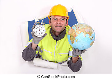 craftsman holding a clock and a globe