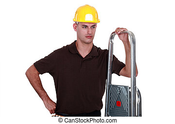 craftsman holding a ladder