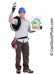 craftsman holding an energy consumption label and money in cash