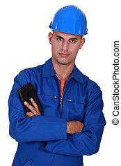 craftsman holding his wallet