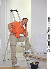 craftsman making a call