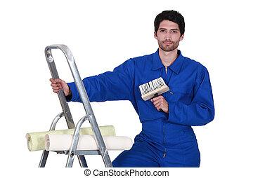 craftsman painter climbing on a ladder