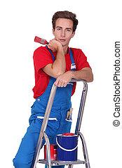 craftsman painter on a ladder
