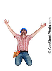 craftsman raising hands