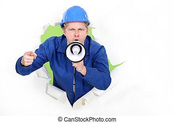 craftsman shouting through a megaphone