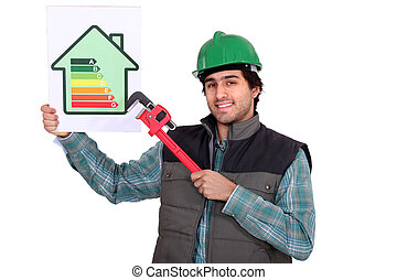 craftsman showing the level of energy consumption of a house