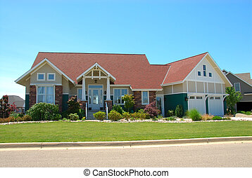 Craftsman Style House in Summer - Craftsman style house in...