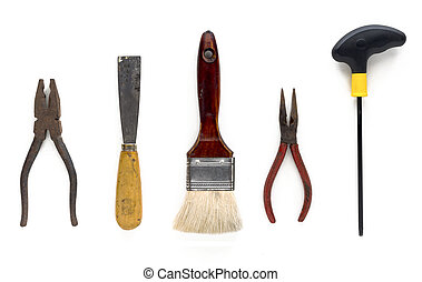 Craftsman tools isolated on white background.