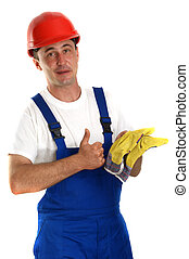 Craftsman with a red safety helmet and protective gloves