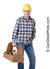 Craftsman with toolbox - Full isolated studio picture from a...