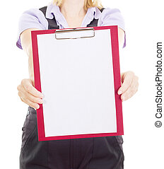 Craftsperson with clipboard
