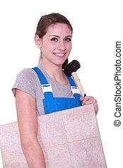 craftswoman, bärande, tegelpanna